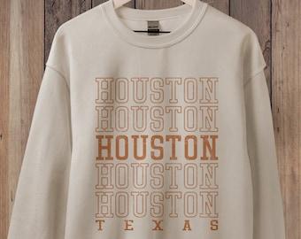 Houston Sweatshirt, Texas Sweatshirt, State Sweatshirt Retro 70s style Unisex Guys or Ladies, City Sweatshirts