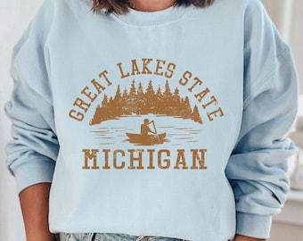 Michigan Sweatshirt, Great Lakes Sweatshirt, State Shirt, College Sweatshirt, 70s Style, Hiking & Camping 4RUST PBL