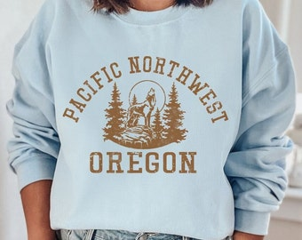Oregon Sweatshirt, Pacific Northwest Sweatshirt, State Shirt, College Sweatshirt, 70s style Graphic Shirts, Hiking & Camping Top 4RUST PBL