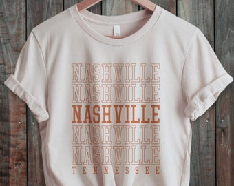 Nashville Tennessee T-Shirt, Retro 70s style  Unisex Graphic Tee for Guys or Ladies, State Shirts