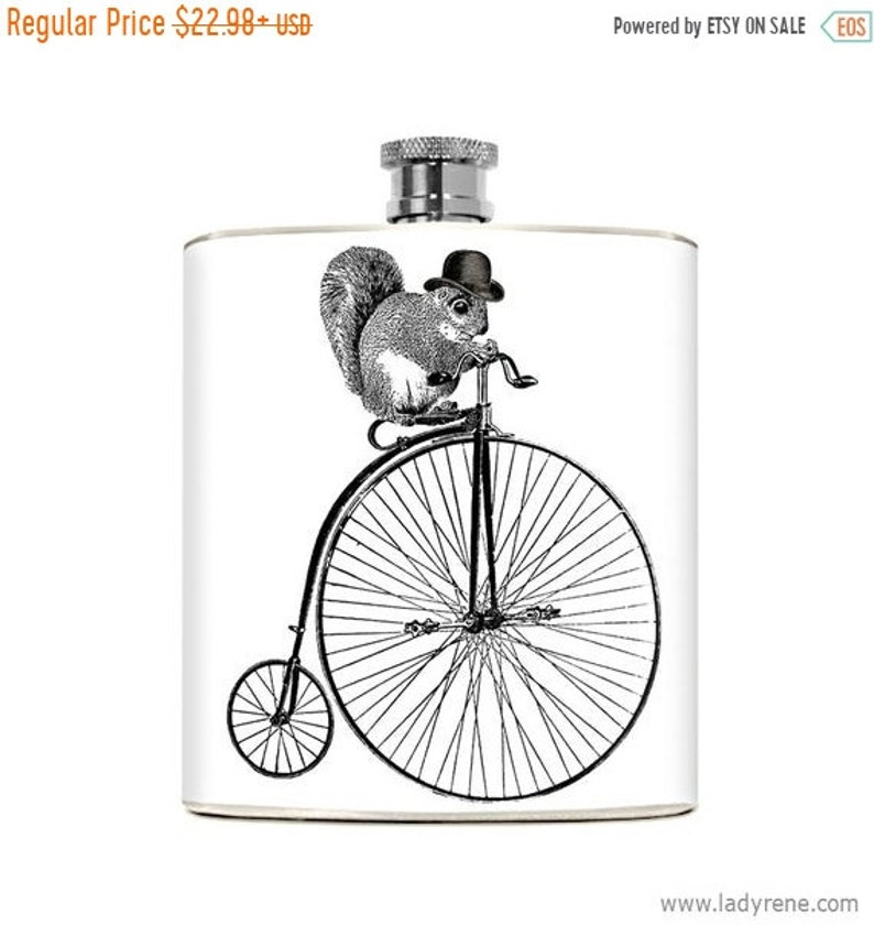 f8212160bf Squirrel Gifts Mens Flask 6oz Drinking Gift Funny Humorous   Etsy