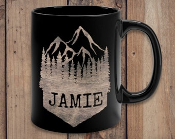 Personalized Mountain Mug, Mountain Lover Gift, Camping Cup, Wedding Favor, Wedding Gifts, Custom Mug, Cabin Mugs, Rustic Present