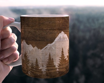 Mountain Camp Mug, Mountain Lover Camping Gift, Personalized Camping Cup, Campfire Mug, Wedding Favor, Wedding Couple Gift, Hiking Cup