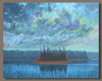 FREE SHIP Semi Abstract Landscape Painting, Original Painting, Lake Painting Storm Clouds, Blue Painting, Den Decor, Nova Scotia Cottage Art