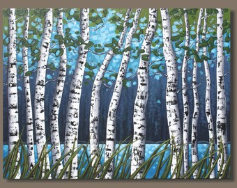 FREE SHIP Semi-Abstract Painting, Birch Trees Painting, Large Forest Painting, Landscape Painting, Canvas Art, Aspens, Blue and Green, 30x40