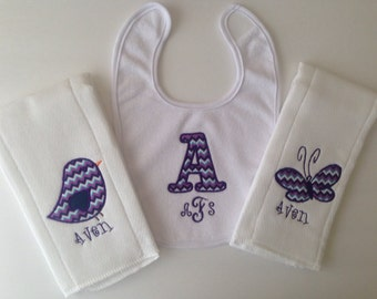3 Personalized Burp Cloth's