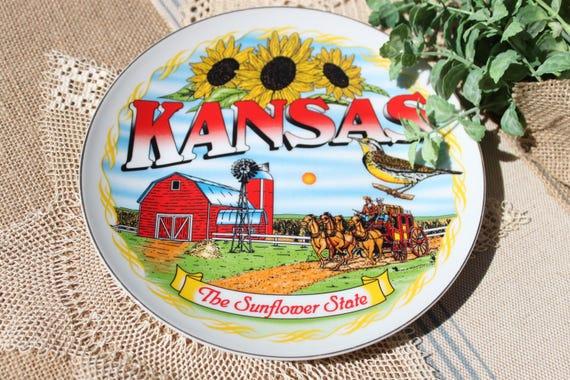 Vintage Kansas Souvenir State Plate Hand Painted Sunflower State