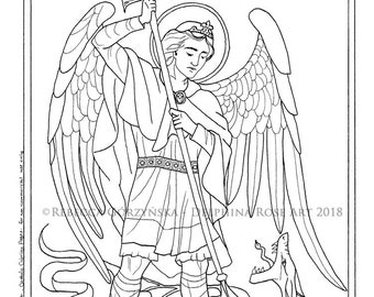 st michael the archangel coloring page catholic christian patron baptism confirmation saint angel devil dragon