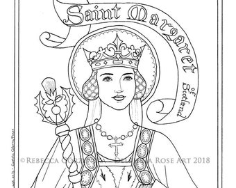 st margaret of scotland coloring page catholic christian patron baptism confirmation saint medieval queen