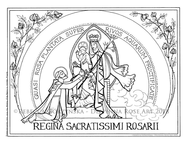 Our Lady Of The Rosary Coloring Page Victory Saint Dominic Etsy