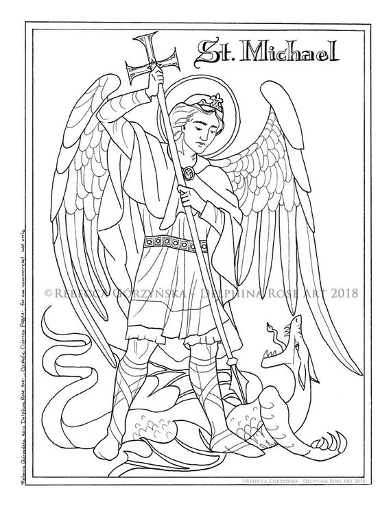 St. Michael the Archangel Coloring Page Catholic Christian