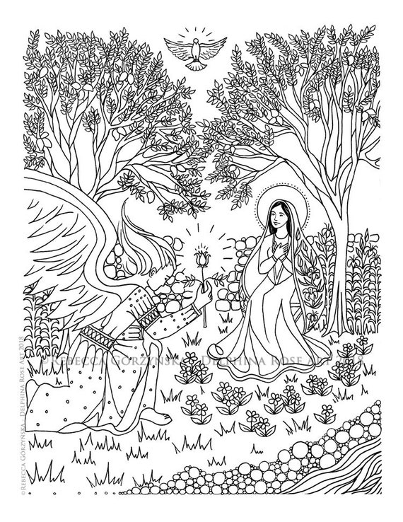 Annunciation Coloring Page Our Lady Mary Angel Gabriel | Etsy