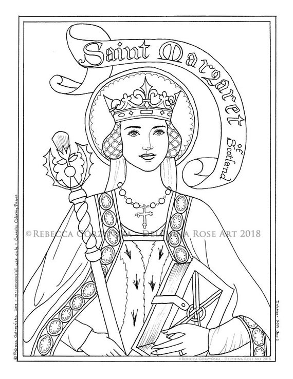 St. Margaret of Scotland Coloring Page Catholic Christian