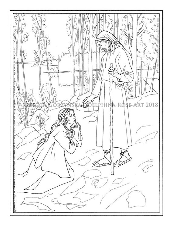 Easter - Christ and Mary Magdalene Coloring Page - Albert Edelfelt -  Resurrection Christian Catholic Realism