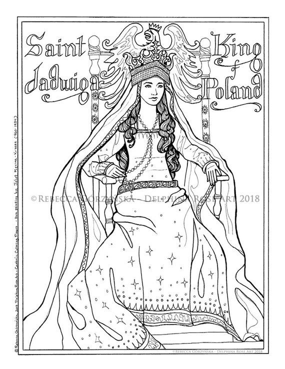 st jadwiga coloring page christian catholic art