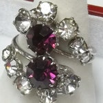Vintage 1960's Cocktail Ring, Dark Orchid  & Clear Rhinestones set in Silver Tone Setting, Costume Jewelry Gift For Her