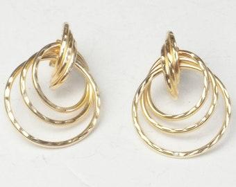 Vintage 1970s Earrings 14K Solid Yellow Gold Triple Loop Post Pierced Ear Fine Jewelry Gift For Her Best Deal