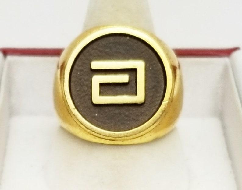 Vintage Polished Gold & Black Enamel Man's Ring image 0