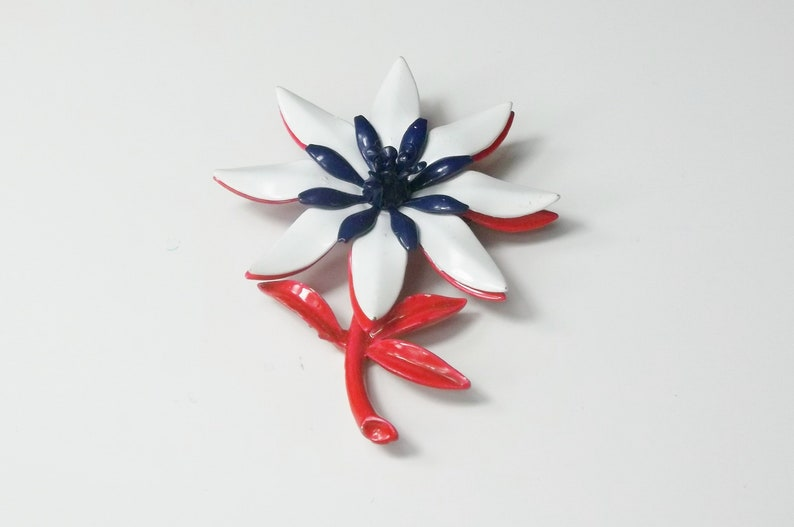 Large Patriotic Flower Brooch Red White & Blue Tiered Layered image 0