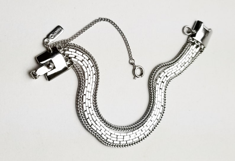 Vintage Costume Jewelry Gift For Her Signed Monet 4 Strand Boston /& Brazilian Chains Rhodium Plate Bracelet