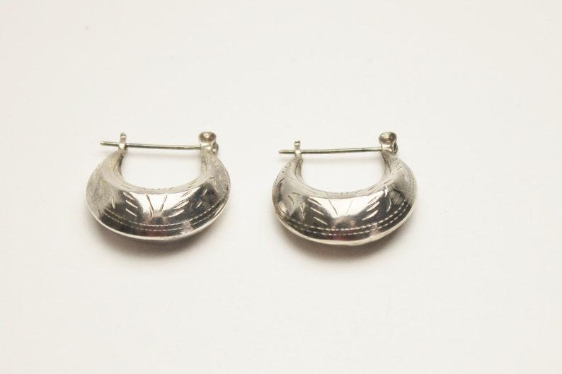 Vintage Sterling Silver Hallow Etched Hoop Earrings image 0