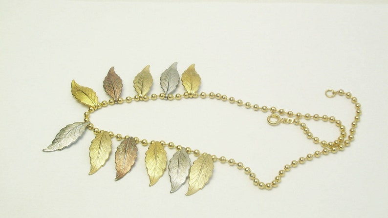 Vintage Necklace Gold Copper Silver Fall Autumn Leaf Charms image 0