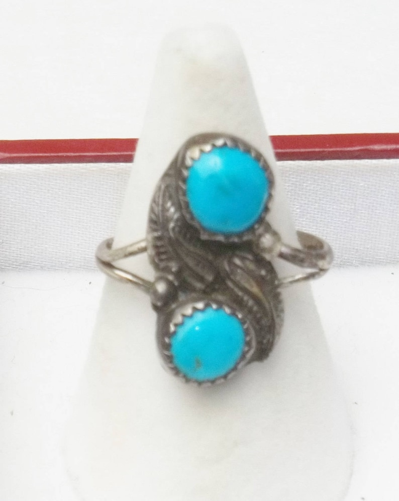 Vintage 1970s Ring Sterling Silver Turquoise Feather Design image 0