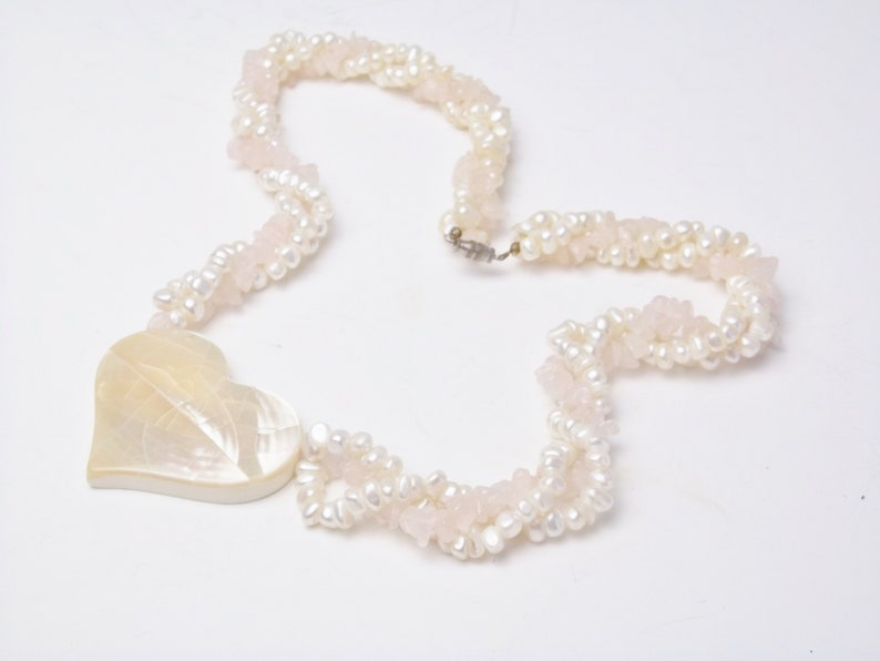 MOP Heart Pendant NECKLACE Rose Quartz Nuggets Fresh Water image 0