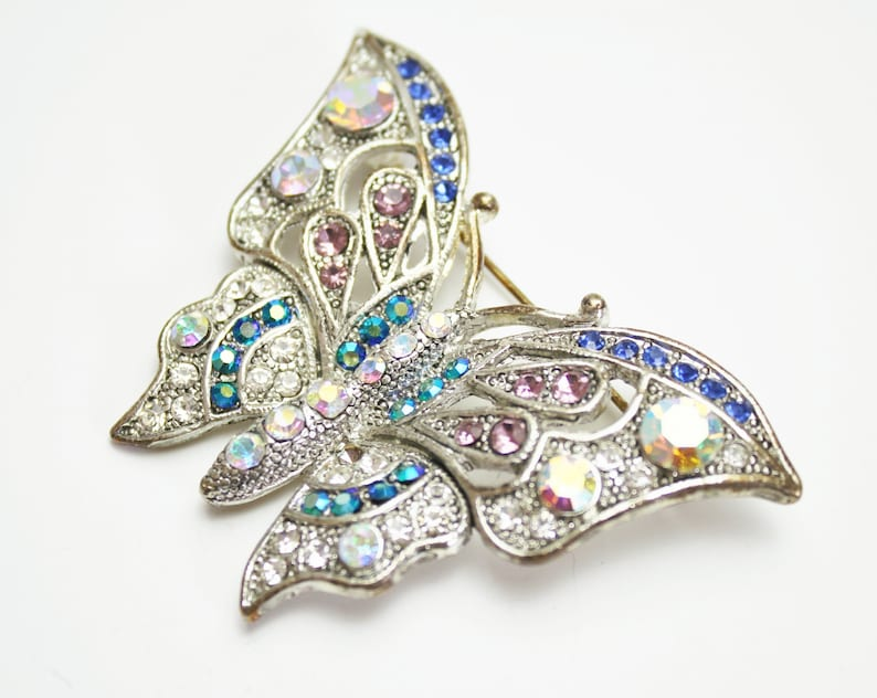 Multi Colored Rhinestone Butterfly Brooch Faux Marcasite AB image 0