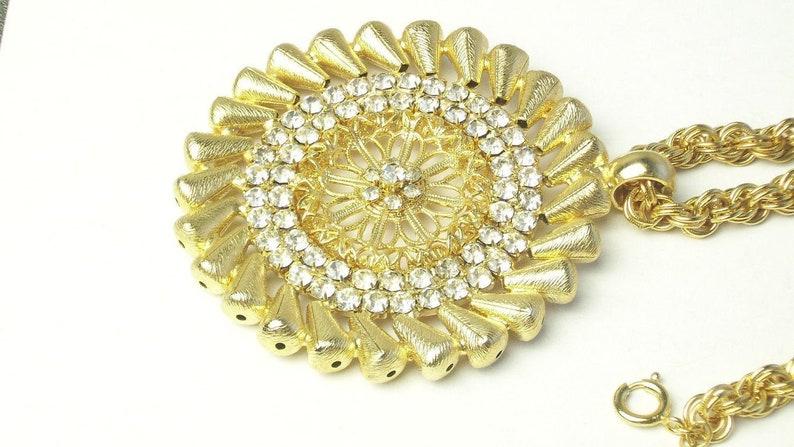 Designer Tammey Jewels Statement NECKLACE Rhinestone & Gold image 0