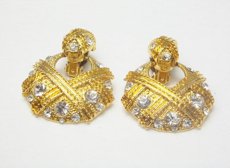 Vintage Earrings Rhinestone Gold Loop Dangle Clip On image 0