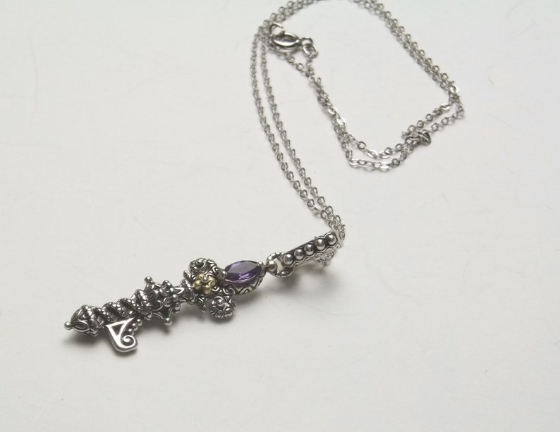 Vintage on Etsy Designer Barbara Bixby Key/'s of Life Sterling Silver /& 18K Gold Amethyst Fine Jewelry Necklace Gift For Her