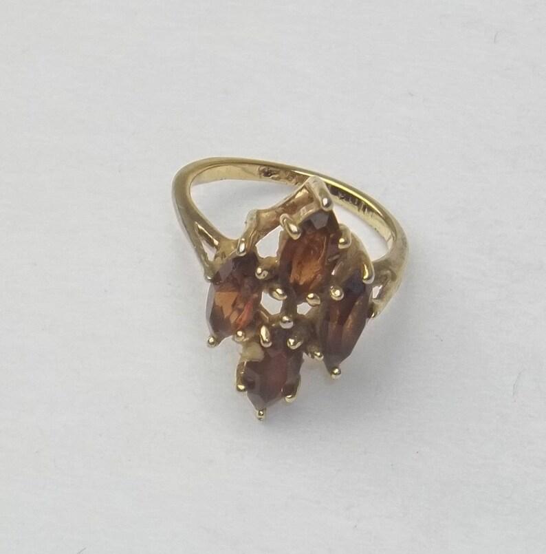 Smoky Quartz Marquise Cut 10 K Gold Plate Ring Vintage image 0