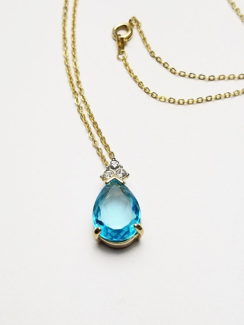 Teardrop Aqua Blue Crystal Necklace & Clear Rhinestones image 0
