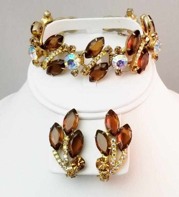 Juliana Parure AB Rhinestone Gold Leaf Accents Juliana D/&E Jewelry Set Necklace Bracelet Clip On Earrings Gold Tone