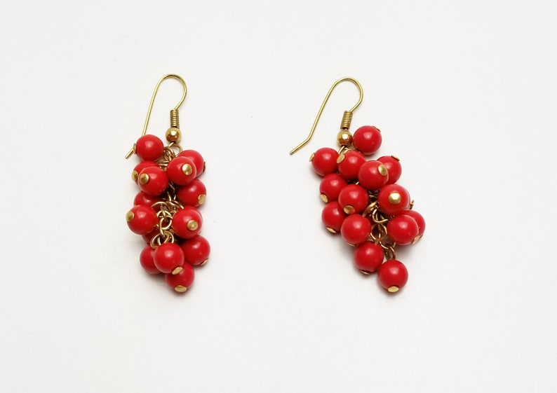 Red Beads Grape Clustered Vintage Dangle Earrings  Pierced image 0