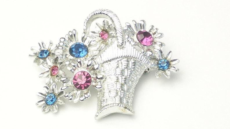 Signed DODDS Spring Flower Basket Brooch Pink & Blue Rhodium image 0