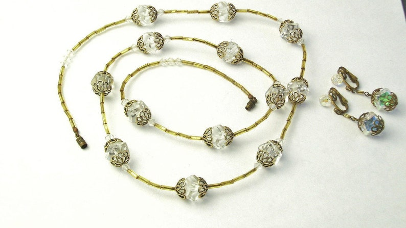 1930s Vintage Austria Crystals Filigree Glass Tube Beads image 0