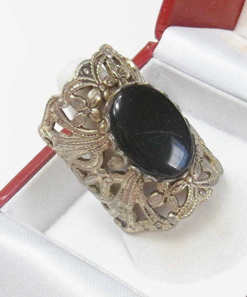 Vintage Boho Bohemian Statement Ring Black Glass Stone Open image 0