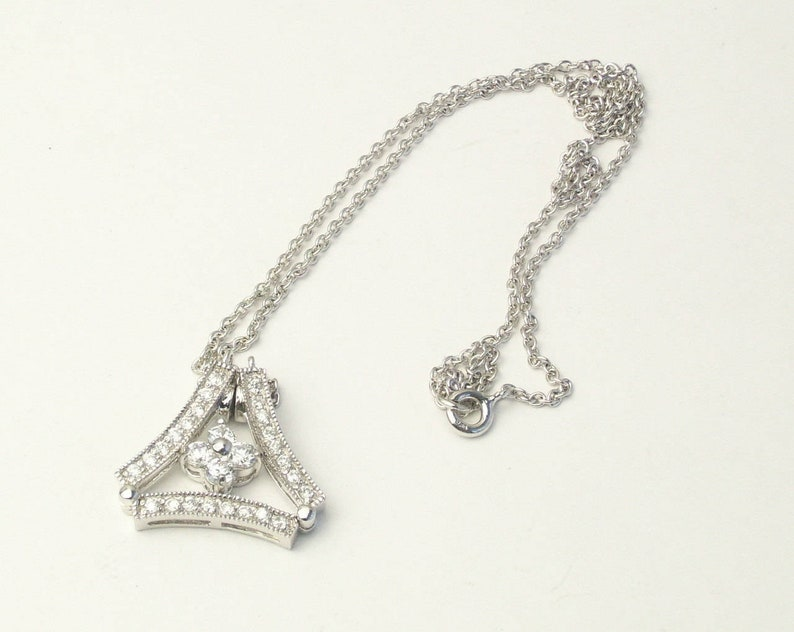 Sterling Silver CZ Convertible Two Style 1980's Fine image 0