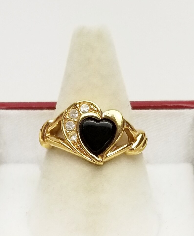 Rhinestone & Glass Heart Gold Ring Signed Avon Vintage image 0