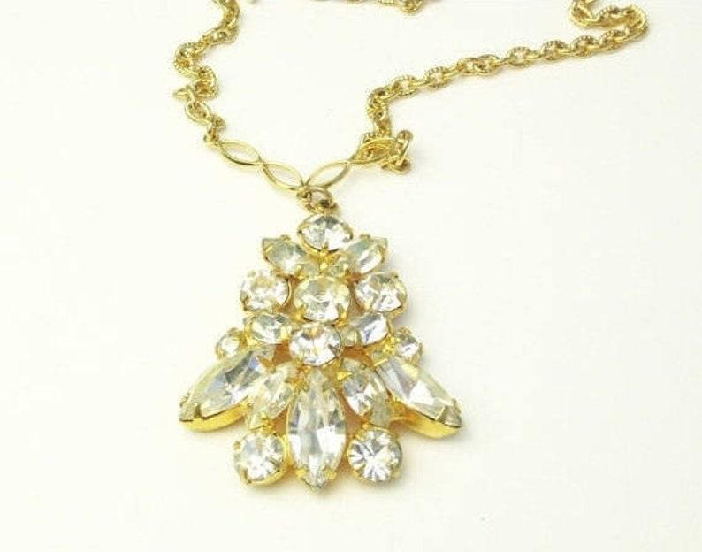 Vintage 1950's Navette Rhinestone Gold Pendant Necklace image 0
