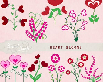 Pretty flower borders 2 digital clipart for card making etsy heart blooms digital clipart for card making scrapbooking invitations printed products commercial use instant download mightylinksfo