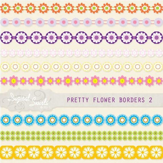 Pretty flower borders 2 digital clipart for card making etsy mightylinksfo