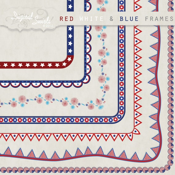 Red White Blue Frames 85 X 11 Digital Clipart For Card Etsy