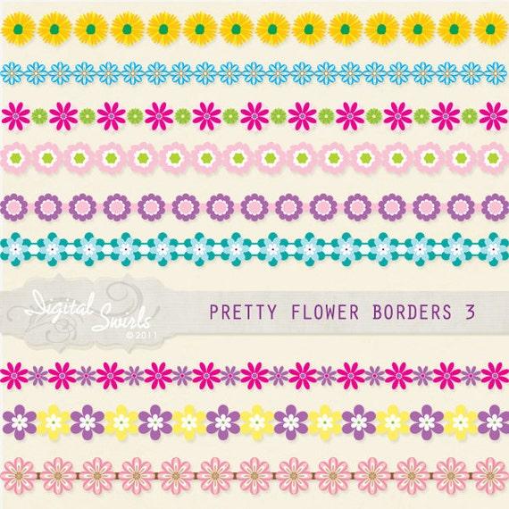 Pretty flower borders set 3 digital clipart for card making etsy image 0 mightylinksfo