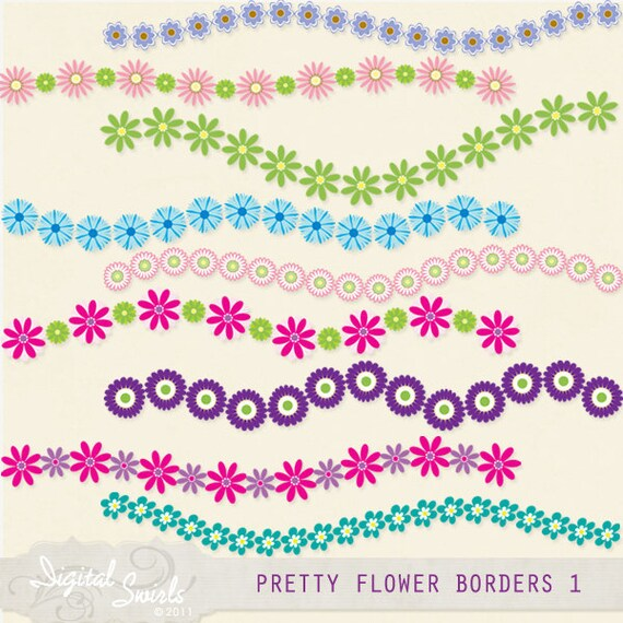 Pretty flower borders set 1 digital clipart for card making etsy image 0 mightylinksfo