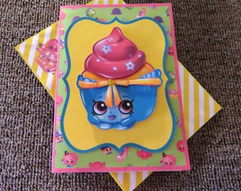 Shopkins pink cupcake birthday card.