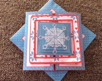 Handmade interlock Snowflake Christmas card with matching envelope