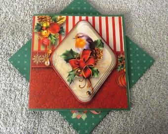Handmade Christmas robin pyramid card.